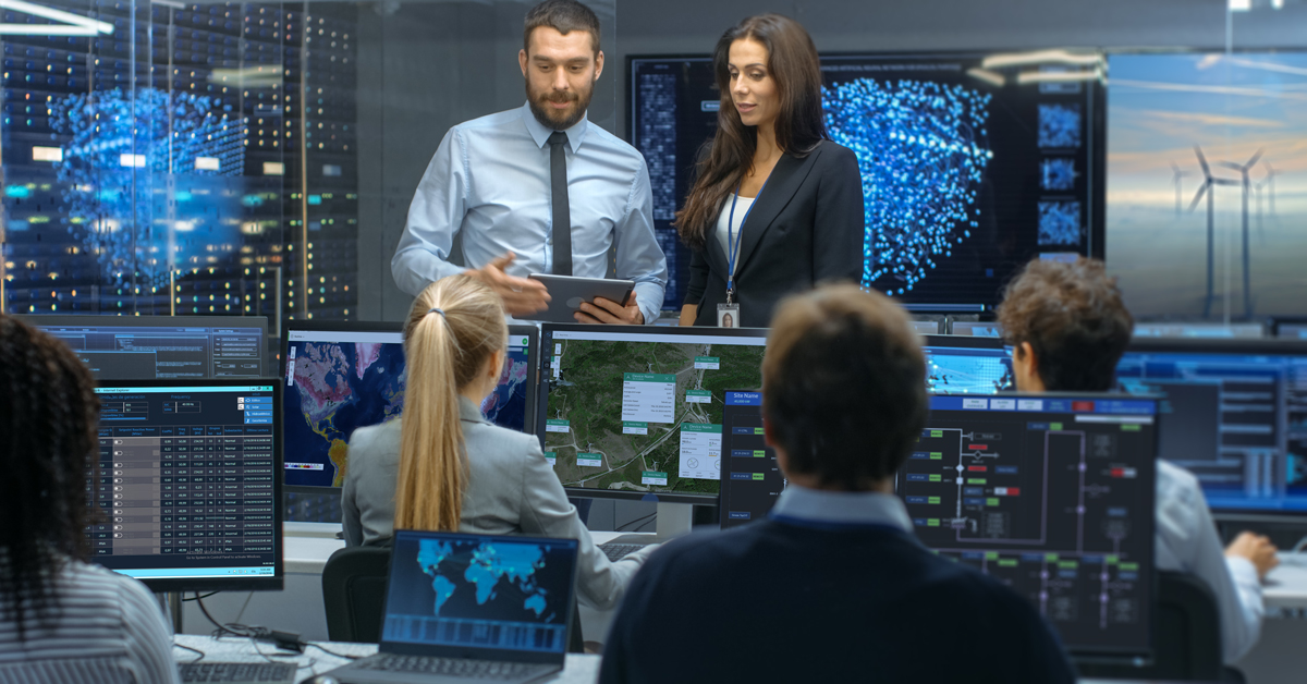 People in the control and monitoring room