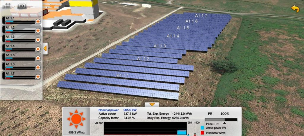 3D view of photovoltaic power plant